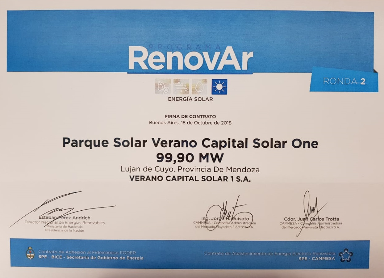 Verano Capital | Argentina: three new Ronda 2 contracts signed for 300 MW